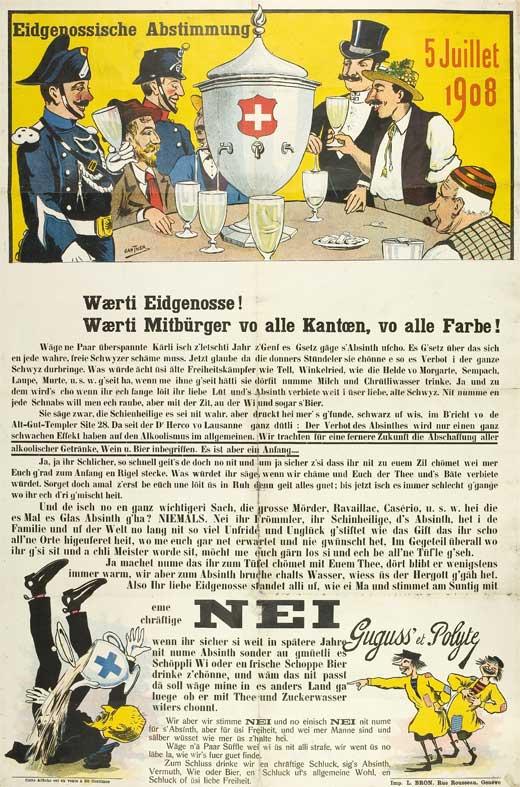 Plakát kampaně v úspěšném referendu za zákaz absintu