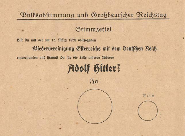 Hlasovací lístek v rakouském referendu o přistoupení k Německé říši